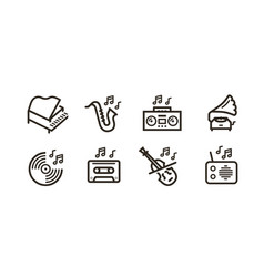 music line icons set collection black vector image