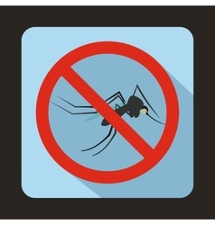 No mosquito sign icon flat style vector