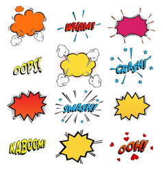 Onomatopoeia comics sounds in clouds for emotions vector