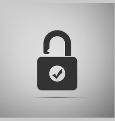 open padlock and check mark on grey background vector image
