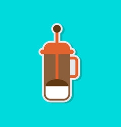 Paper sticker on stylish background offee maker vector