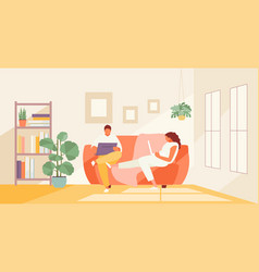 People couple work at home vector
