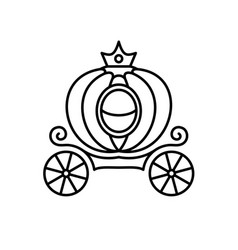 pumpkin carriage line style fairy vector image