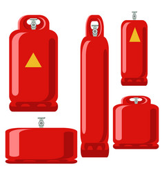 red gas tank set icon in flat propane cylinder vector image