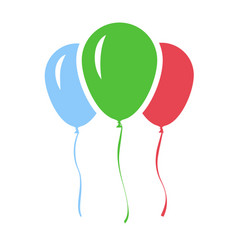 Red green and blue inflatable balloons isolated vector