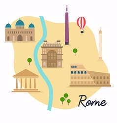 Rome travel map and landscape of buildings vector