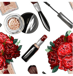 seamless pattern with bouquet of roses lipstick vector image