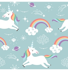 Seamless pattern with cute unicorns vector