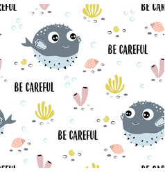 seamless pattern with fugu fish isolated on white vector image