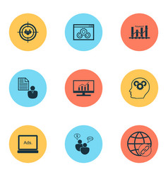 seo icons set with client brief website vector image