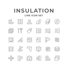 Set line icons insulation isolated on white vector