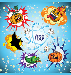 Set of halloween speech bubble vector