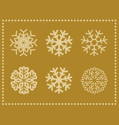 set of icons snowflakes with border vector image
