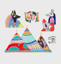set of marker sketch drawing of egyptian vector image