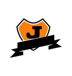 shield ribbon letter j vector image