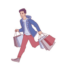 Sketch man running with shopping bags vector