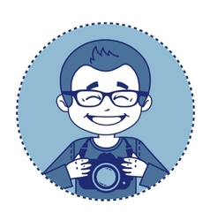 Smile photographer with camera vector image