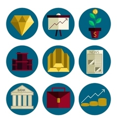 Stock exchange flat icons set vector