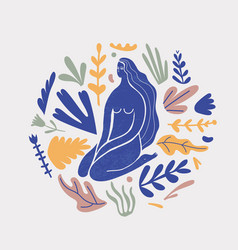 stylized woman sitting with florals long vector image
