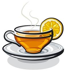Tea with lemon vector