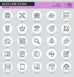 Thin line basic icons set vector