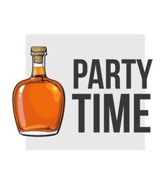 Unopened unlabeled full whiskey bottle vector image