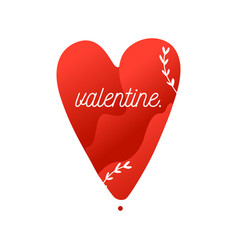 valentine flat picture of red heart with vector image