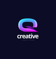 vibrant trendy colorful creative letter q logo vector image
