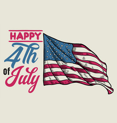 vintage 4th july design with handdrawn flag vector image