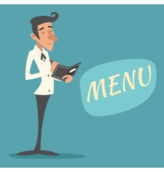 Vintage waiter garcon accepts order symbol vector
