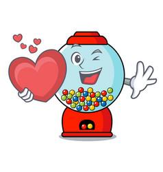 with heart gumball machine mascot cartoon vector image