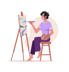 Woman painter artist draws on easel modern picture vector