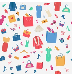 Woman Shopping Seamless Pattern with Clothing vector image