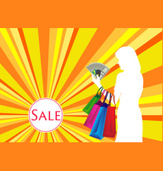 woman shopping with cash and card vector image