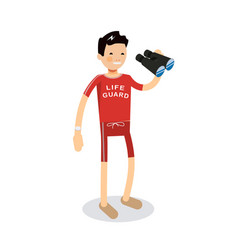 Young male lifeguard standing full length holding vector