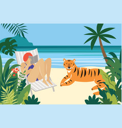 Young woman reading and tiger vector