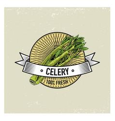 celery vintage set of labels emblems or logo for vector image vector image