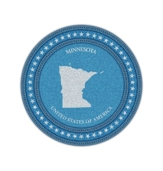 Label with map of minnesota Denim style vector image