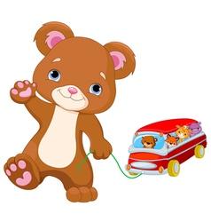 Teddy Bear Plays Toy Bus vector image vector image