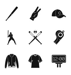 baseball championship icons set simple style vector image