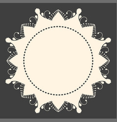 beige round ornament copyspace frame on dark grey vector image vector image