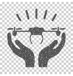 Drone Launch Hands Grainy Texture Icon vector image