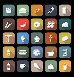 fast food flat icons with long shadow vector image vector image
