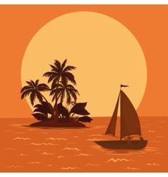 sailing boat tropical sea vector image vector image