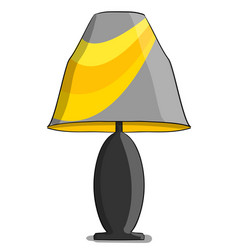 table lamp in yellow and gray colours stands on a vector image