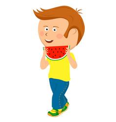 teenager boy walking with slice of watermelon vector image vector image