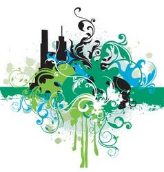 urban floral grunge vector image