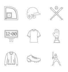 baseball championship icons set outline style vector image