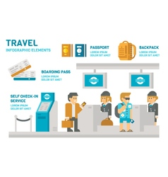 Flat design check-in at airport travel vector image