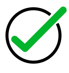 green tick icon on white background green check vector image vector image